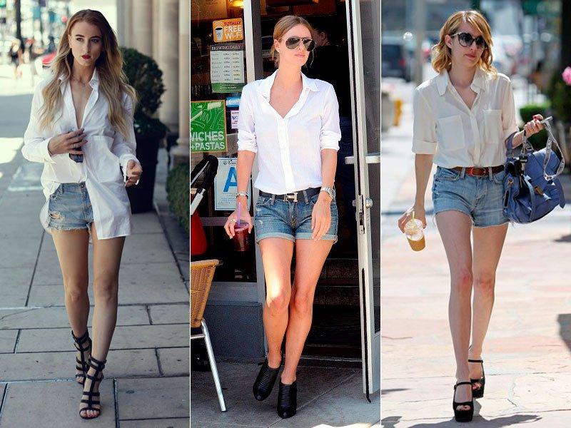 Bermuda Jeans Camisa Branca
